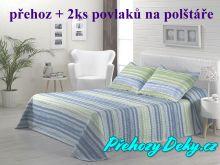 Oboustranný přehoz na postele MAIA 250x270 cm tyrkys