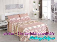 Oboustranný přehoz na postele Nori 250x270 cm šedá/tyrkys