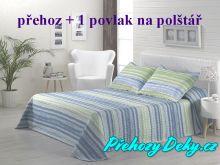 Oboustranný přehoz na postele MAIA 180x270 cm tyrkys