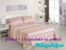 Oboustranný přehoz na postele Nori 180x270 cm šedá/tyrkys