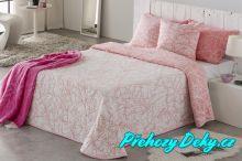 Oboustranný přehoz na postel Sofia 250x270 cm růžový