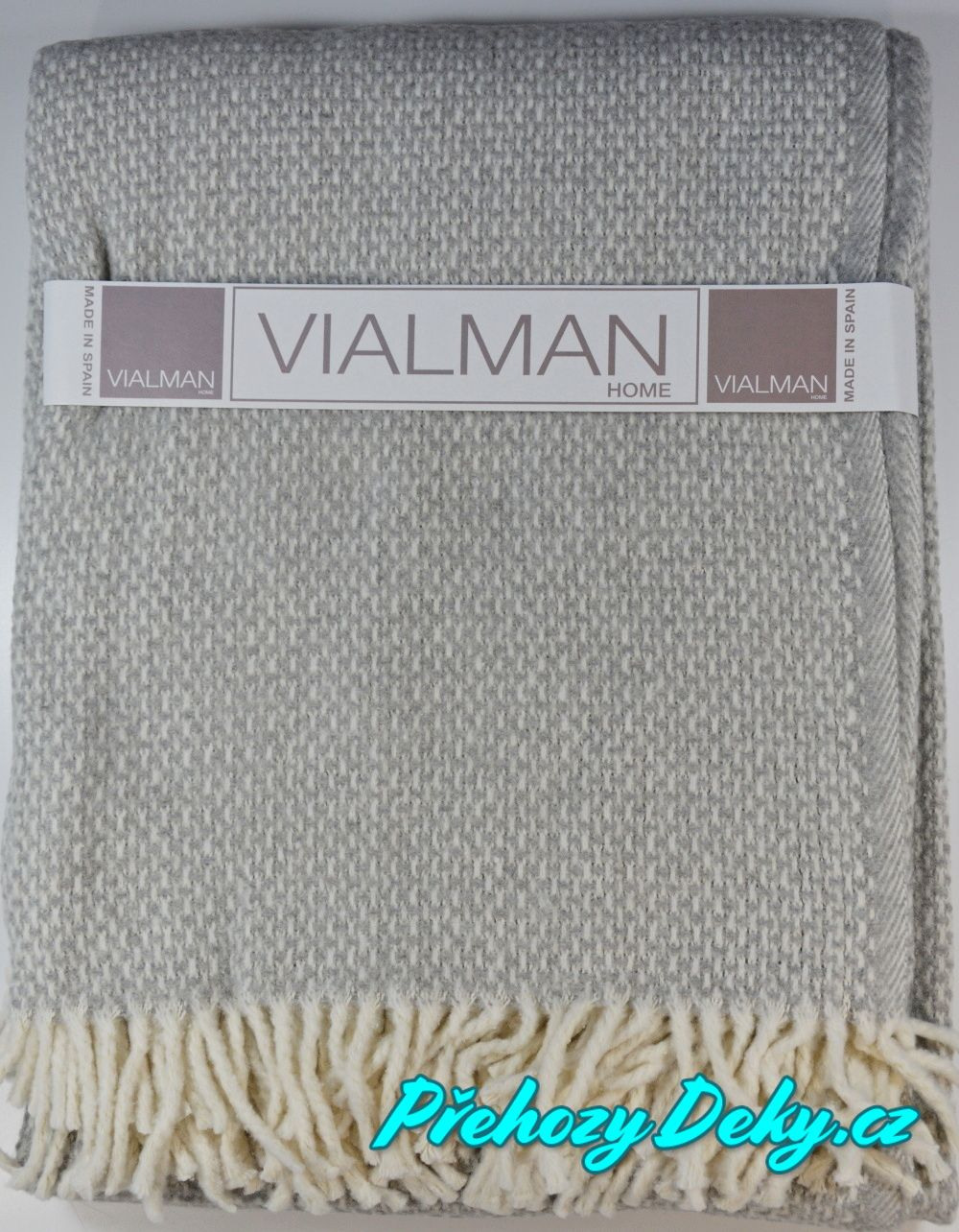 Vialman pletený pléd s třásněmi, plédy na postel, společenské plédy