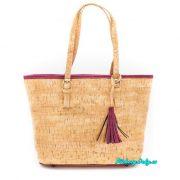 Luxusní korková kabelka do ruky s červeným lemováním