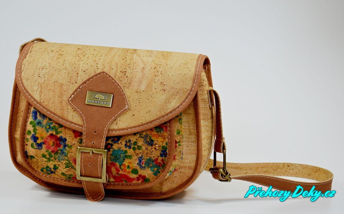 Dámská levná crossbody korková kabelka květovaná Montado