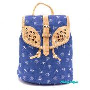 Dámský městský batoh korek/látka tmavě modrý