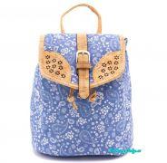 Dámský městský batoh korek/látka světle modrý