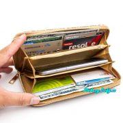 dámská dlouhá korková peněženka s motivem