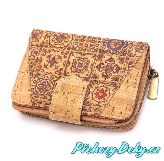 dámská korková peněženka na zip, luxusní dámská pěněženka