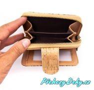 dámská malá korková peněženka na zip, designový dámská pěněženka