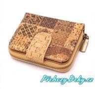 Korková dámská peněženka malá na zip