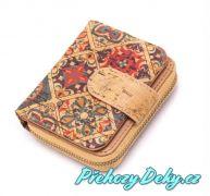 dívčí malá korková peněženka na zip, designový dívčí pěněženka