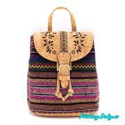 Batoh-kabelka 2 v 1 z korku s barevným vzorem