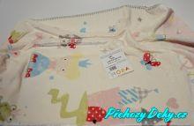 Dětská španělská deka do kočárku MORA® Lumpy růžová 80x110cm
